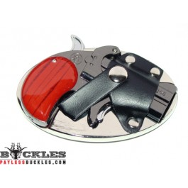Derringer Gun Butane Lighter Belt Buckle