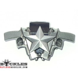 Double Crossed Gun Lighter Belt Buckle