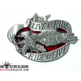Live to Ride Motorcycle Biker Eagle Belt Buckle