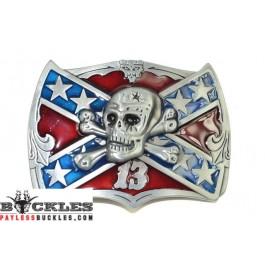 Skull Confederate Flag Belt Buckle