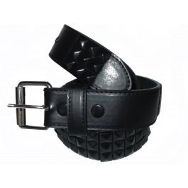 Wholesale Stud Studded Snap-On Leather Belts - Black / Black Pyramid