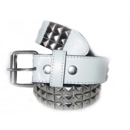 Wholesale Studded White Leather Belt Silver Studs - Stud03