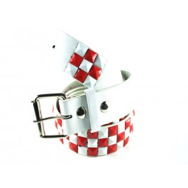 Wholesale Studded Belt Checkered White Red - Fun217