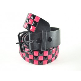 Wholesale Studded Belt Checkered Black Pink Studs - Fun219
