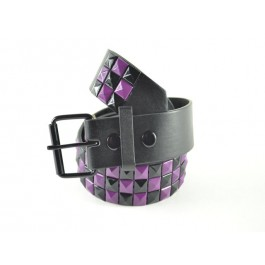 Wholesale Studded Belt Checkered Black Purple - Fun220