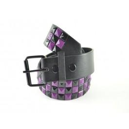 Wholesale Studded Belt Checkered Black Purple - Fun220