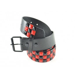 Wholesale Studded Belt Checkered Black Red - Fun221