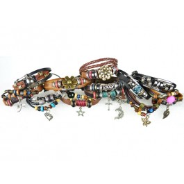 #4 pack of 12 Pandora Style Leather Bracelets