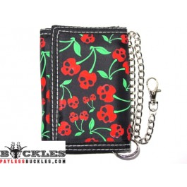 Wholesale Cherry Skull Chain Wallets