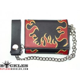 Wholesale Leather Chain Wallets Flame