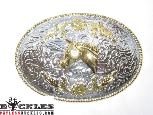 Two Tone Western Horse Belt Buckles
