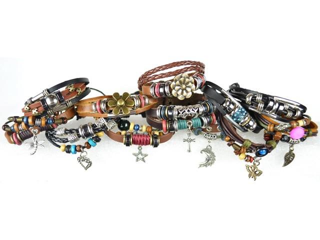 #4 pack of 12 Pandora Style Leather Bracelets