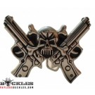 Skull Crossed Gun Skull Belt Buckle