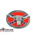 Confederate Flag Longhorn Belt Buckles