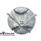 Rhinestone Baseball Belt Buckles