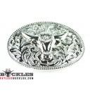 Silver Longhorn Western belt Buckles