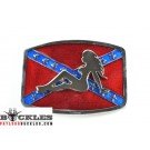 Wholesale Confederate Flag belt Buckles with Mud Flap Girl