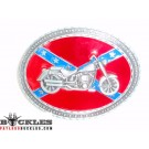 Motorcycle Biker Confederation Flag Belt Buckle