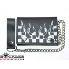 Wholesale Leather Chain Wallets with Flame Logo