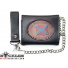 Wholesale Leather Chain Wallets Confederate Flag